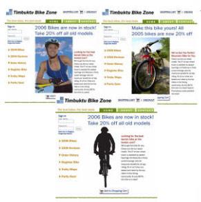 Ausschnitt aus Google Website Optimizer Demo: Website Varianten