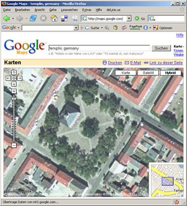 Templin mit Google Maps im Browser