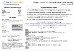 Cheat Sheet Suchmaschinenoptimierung