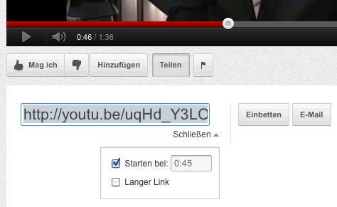 Youtube - verkürzten Link mit Zeit erstellen