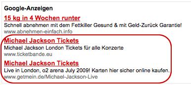 Google Anzeigen mit Werbung für Konzerte die nun leider nicht mehr stattfinden werden
