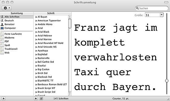 Schriftenverwaltung unter Mac OS X