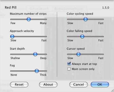 Einstellungen für den Matrix Screensaver RedPill
