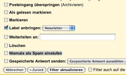 Google Mail Filter Einstellungen