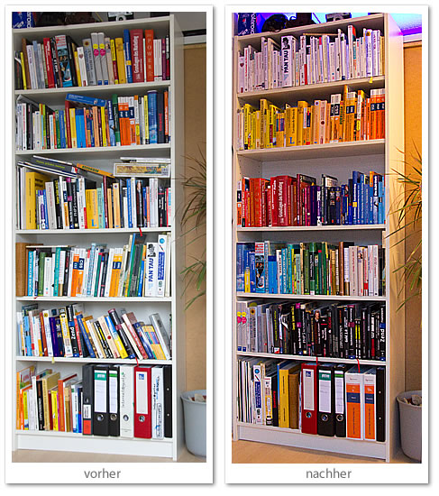 Bücher nach Farben sortiert