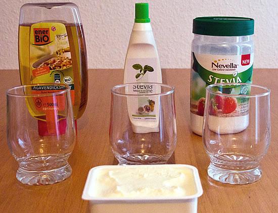 Im Test: Stevia-flüssig und Stevia Streusüße gegenüber Agavendicksaft