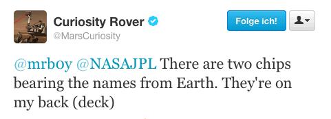 """Mars Rover """"Curiosity"""" bestätigt per Twitter"""