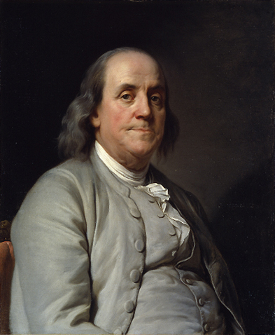 Benjamin Franklin (Ölgemälde von Duplessis um 1785)