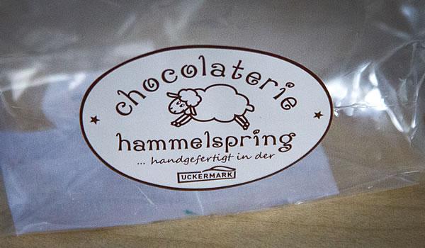 Schild der Chocolaterie Hammelspring