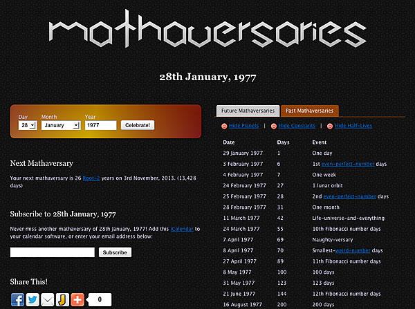Mathaversaries.com - ungewöhnliche Jahrestage  & Jubiläen (Screenshot)