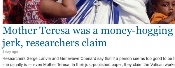Mutter Teresa Überschrift auf msn-now (Bildschirmfoto 6.3.2013)