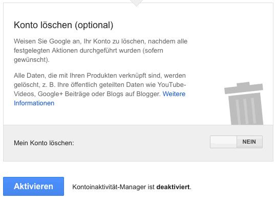 Google Konto automatisch löschen mit dem Inaktivität-Manager