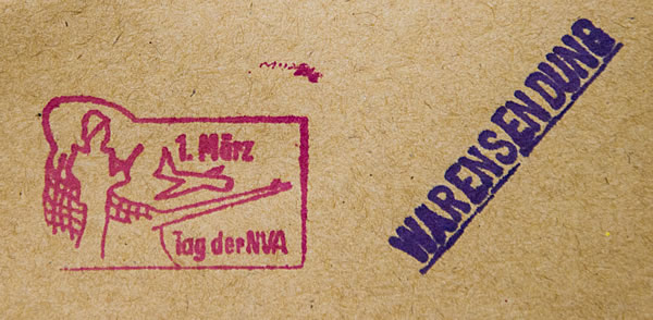 Tag der NVA - Stempel auf Warensendung