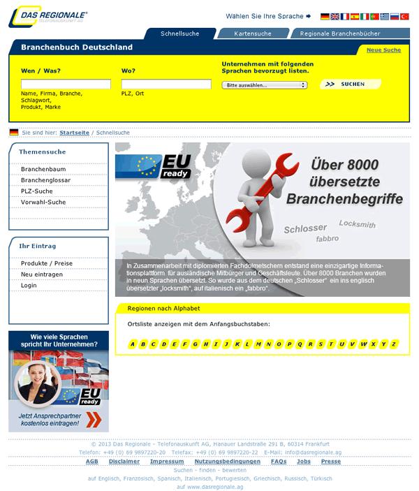 Startseite von -Das Regionale - Telefonauskunft AG-