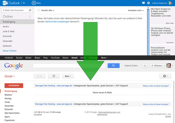 von Outlook.com zu Google Mail