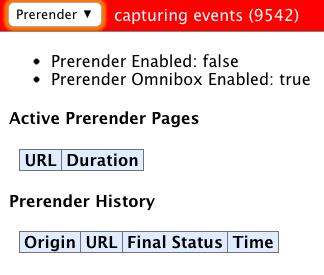 Prerendering Status im Google Chrome