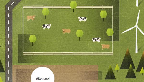 Kühe in der Google+ Hashtag-Stadt