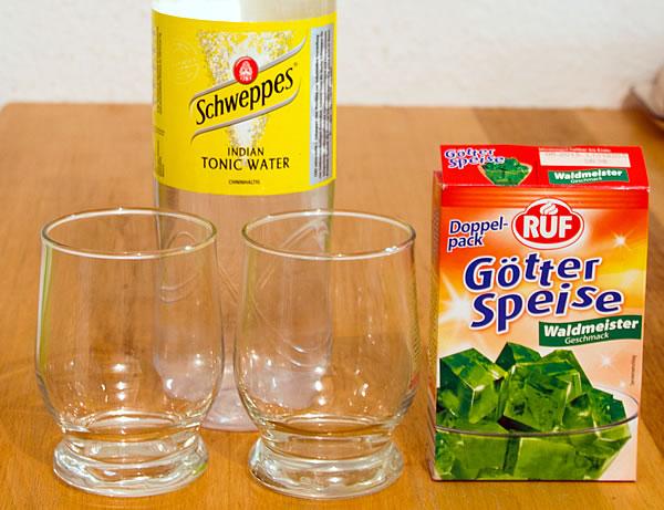 Schweppes Tonic Water & Gätterspeise Waldmeister