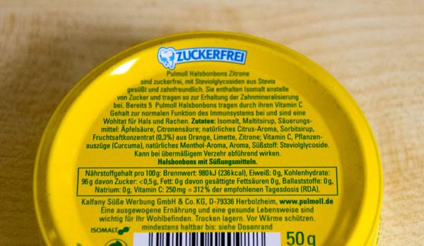 Pulmoll Halsbonbons Zitrone Zutaten