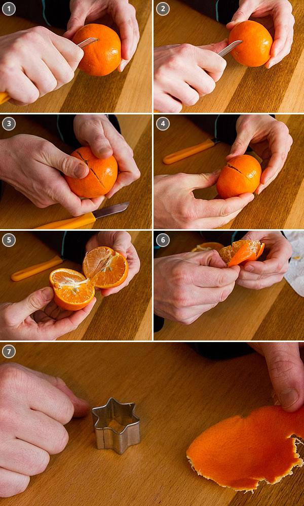Mandarinen-Schalen lösen